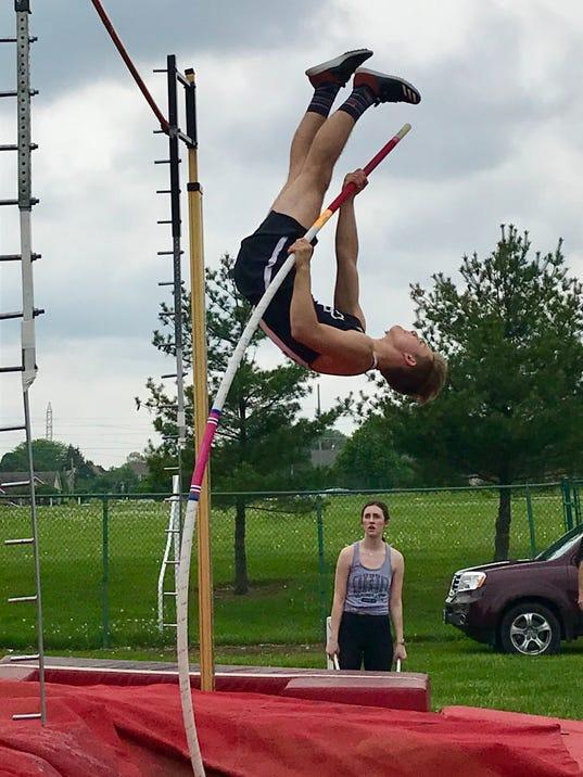 Pleasant boys track pole vault Wyatt Wells