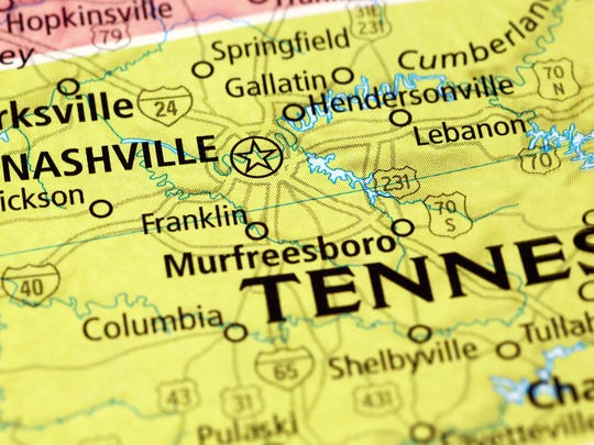 Area of Nashville (Tennessee) on a map