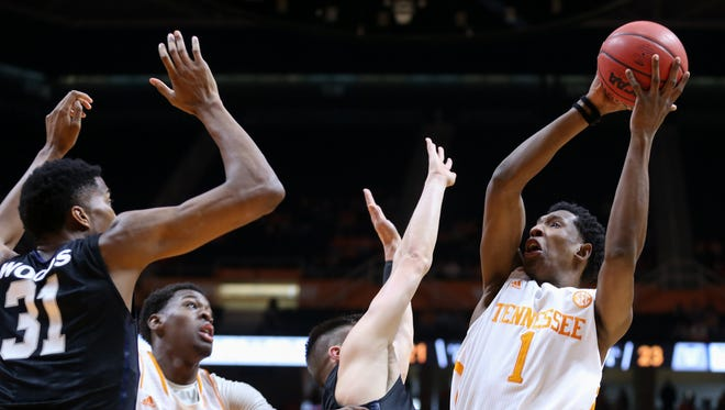 Tennessee Volunteers guard Josh Richardson (1) shoots the ball against the Butler Bulldogs at Thompson-Boling Arena.