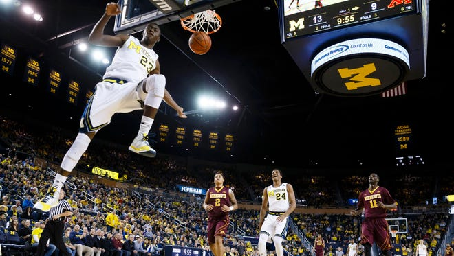 Michigan guard Caris LeVert  dunks in the first half against the Minnesota Golden Gophers at Crisler Center on Jan. 10, 2015. Michigan will host ESPN College Gameday on Jan. 24.