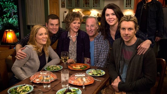 "NBC's ""Parenthood"" stars, from left, Erika Christensen, Peter Krause, Bonnie Bedelia, Craig T.Nelson, Lauren Graham and Dax Shepard."