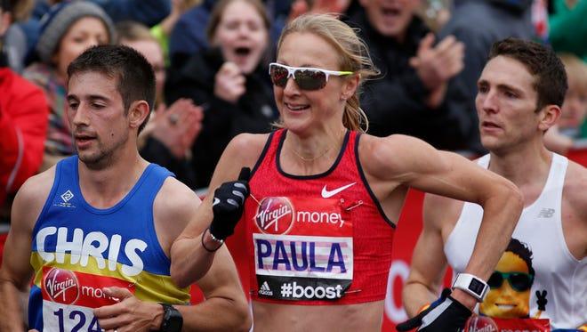 Paula Radcliffe during the Virgin Money London Marathon on April 26.