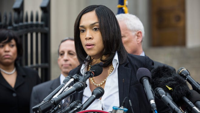 Baltimore City State's Attorney Marilyn J. Mosby announces criminal charges against Baltimore police officers in the death of Freddie Gray.