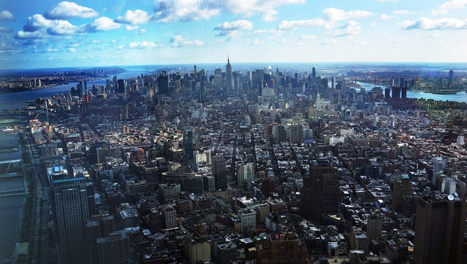 The view of Manhattan from One World Observatory on the 100th floor of One World Trade Center.