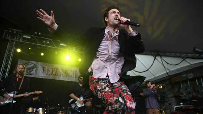 Edward Sharpe and the Magnetic Zeros performs at the Rachael Ray Feedback Party at Stubb's during South By Southwest on Saturday, March 21, 2015, in Austin, Texas.