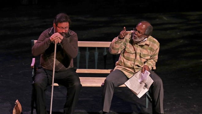"""Richard Bugg, artistic director of the Neil Simon Festival, and Clarence Gilyard perform a scene from """"I'm Not Rappaport"""" during a June 30, 2015, preview night at the Heritage Center Theater in Cedar City."""