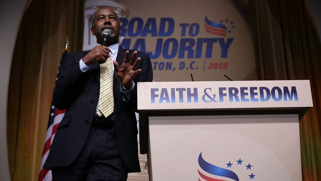 "Republican presidential hopeful Ben Carson discussed his faith and major social issues during the ?Road to Majority? conference Friday in Washington, D.C. WASHINGTON, DC - JUNE 19:  Republican U.S. presidential hopeful Ben Carson speaks during the ""Road to Majority"" conference June 19, 2015 in Washington, DC. Conservatives gathered at the annual event held by the Faith & Freedom Coalition and Concerned Women for America held the annual event to discuss politics."