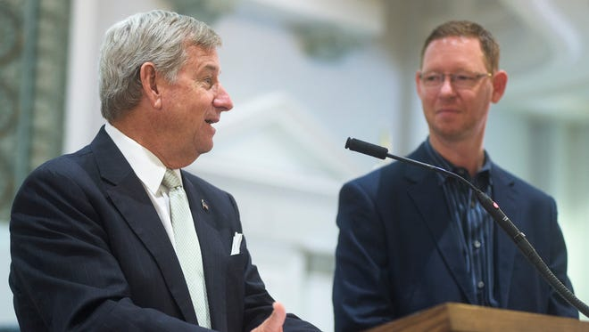 Montgomery Mayor Todd Strange and Daniel Carlisle, of Infinitus Energy, announce that the city and Infinitus were awarded the 2015 Alabama Innovation Award for Outstanding Public-Private Partnership during a press conference at city hall in Montgomery, Ala. on Thursday August 13, 2015.