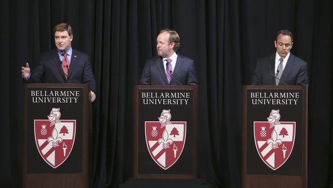 Democrat Jack Conway, independent Drew Curtis and Republican Matt Bevin squared off during the Bluegrass Poll gubernatorial debate at Bellarmine University in Louisville on Tuesday night.