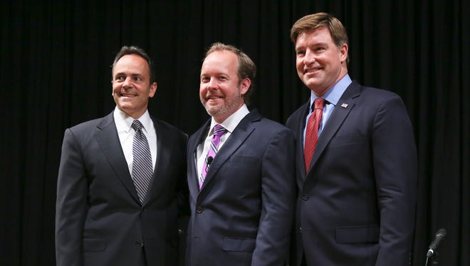 Matt Bevin, Drew Curtis and Jack Conway posed for a photo after they squared off during the Bluegrass Polls gubernatorial debate at Bellarmine University Sept. 15, 2015