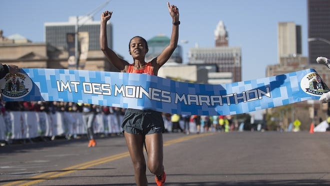 Ethiopian Biruktait Degefa won't be back to defend her title Sunday at the IMT Des Moines Marathon.