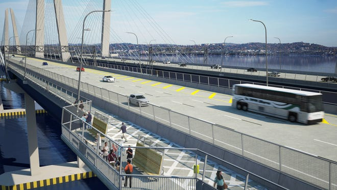A Hudson Links commuter bus could replace Tappan ZEExpress buses, as seen in this rendering of the new Tappan Zee Bridge.