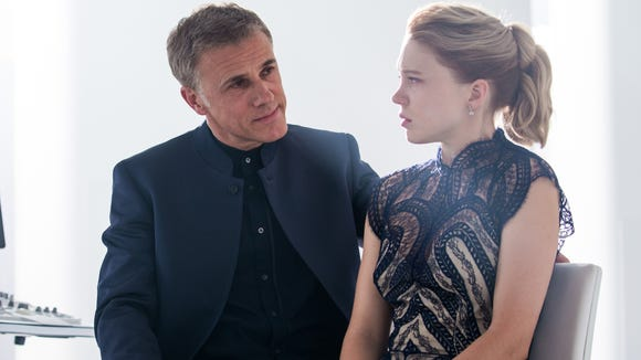 "In this image released by Metro-Goldwyn-Mayer Pictures/Columbia Pictures/EON Productions, Christoph Waltz, left, and Lea Seydoux appear in a scene from the James Bond film, ""Spectre."" The movie releases in U.S. theaters on Nov. 6, 2015."