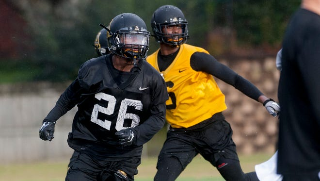 Appalachian State defensive back Josh Thomas (26) practices for the Camellia Bowl on Wednesday December 16, 2015 at the Huntingdon College campus in Montgomery, Ala. Thomas played for Montgomery Academy.