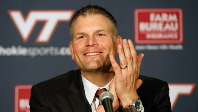 Justin Fuente at his introductory news conference as Virginia Tech's coach.