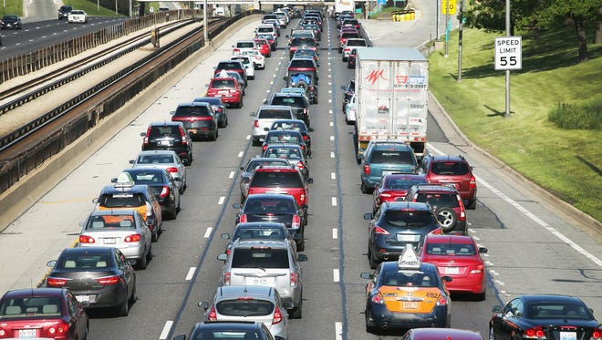 Traffic jams up on the Kennedy Expressway in Chicago, Illinois.