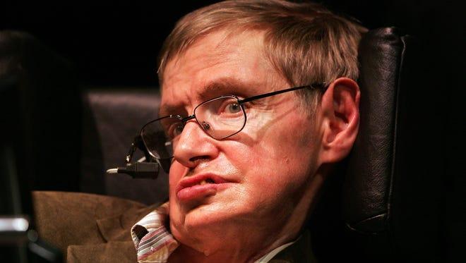 Physicist Professor Stephen Hawking speaks at Zellerbach Auditorium on the UC Berkeley campus March 13, 2007, in Berkeley, Calif.