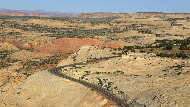 State Route 12 passes through Grand Staircase-Escalante National Monument, seen here from Head of the Rocks Overlook.