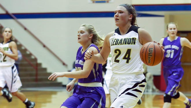 Lebanon's Kristen Spolyar scored 31 points in the Tigers' sectional semifinal win over Greencastle on Feb. 5, 2016.