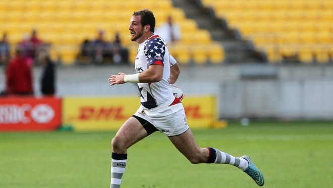 American Zack Test breaks away for a try during the 2016 Wellington Sevens pool match between the USA and France at Westpac Stadium on Jan. 30, 2016 in Wellington, New Zealand.