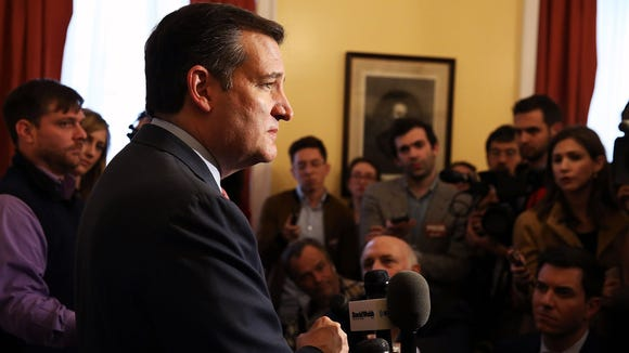 Ted Cruz speaks to the media during an appearance in