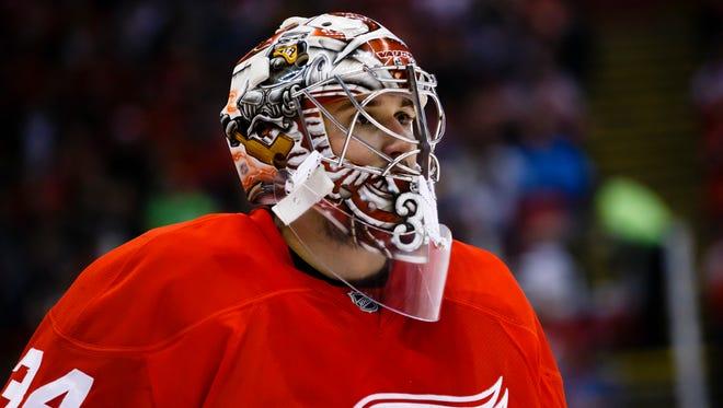 Mar 24, 2016; Detroit, MI, USA; Detroit Red Wings goalie Petr Mrazek (34).