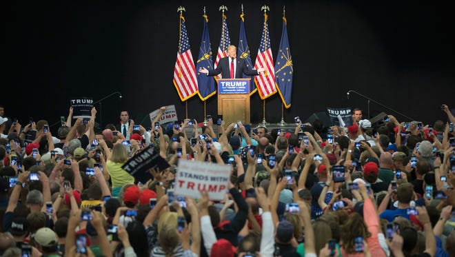 Donald Trump speaks to guests and supporters during a rally at the Indiana State Fairgrounds on April 20, 2016, in Indianapolis.