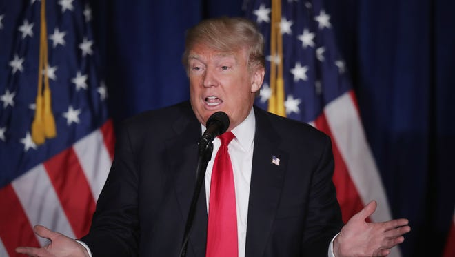 Donald Trump delivers a foreign policy speech in Washington on April 27, 2016.