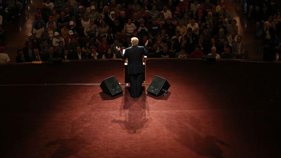 Donald Trump speaks during a campaign stop on May 2,