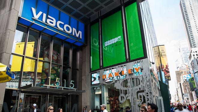 A sign hangs on the offices of Viacom in Times Square on August 6, 2015 in New York City.