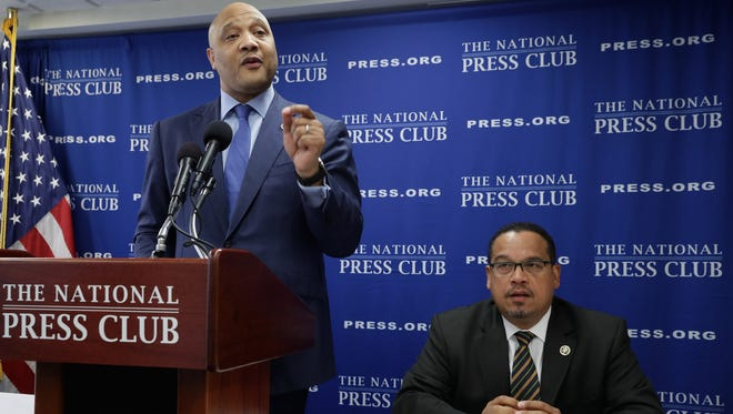 The only two Muslim members of Congress, Rep. Andre Carson, D-Ind., and  Rep. Keith Ellison, D-Minn., speak at the National Press Club on May 24, 2016, about what they call the Islamophobia in the 2016 presidential election.