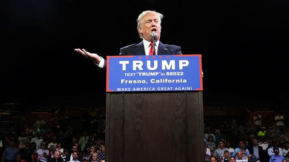 Donald Trump speaks at a rally in Fresno, Calif., on