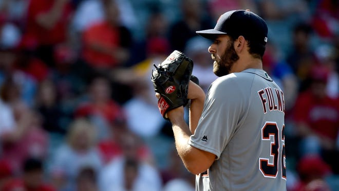 Michael Fulmer #32 of the Detroit Tigers pitches against the Los Angeles Angels of Anaheim at Angel Stadium of Anaheim on June 1, 2016 in Anaheim, California.