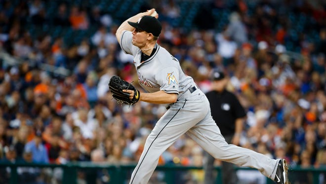 Miami Marlins relief pitcher Nick Wittgren works in the fifth inning against the Detroit Tigers at Comerica Park.