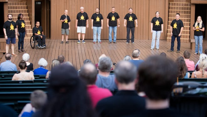 Members of KentuckyÕs first Veteran Shakespeare Program preform in Louisville's Central Park.  The performance not only brings them together, but helps them connect with members of the community.