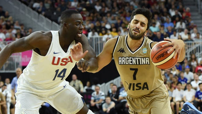 Draymond Green of the United States fouls Facundo Campazzo of Argentina during a USA Basketball showcase exhibition game at T-Mobile Arena on July 22, 2016 in Las Vegas, Nevada.