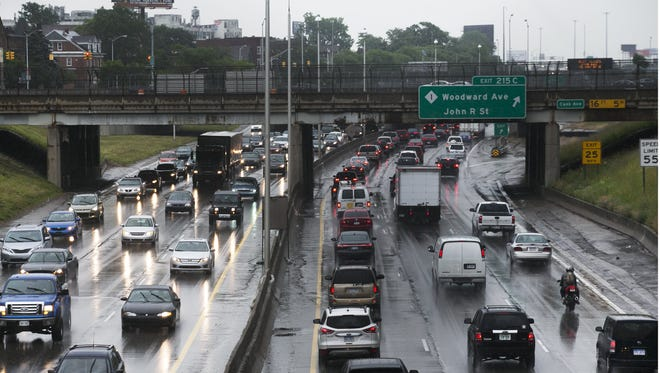 Traffic slows down in both directions along I-94 near Woodward in Detroit in 2013.