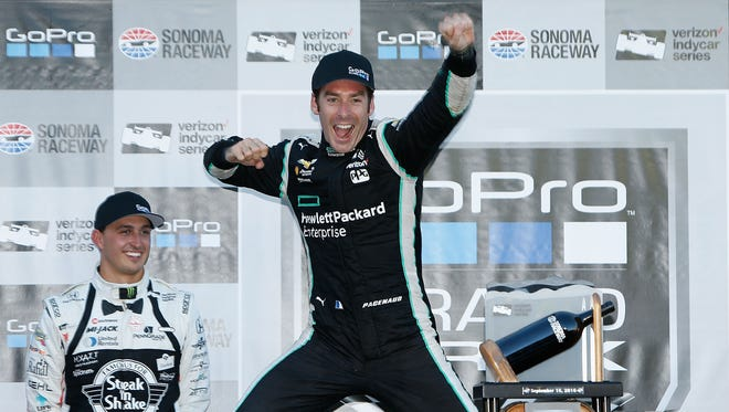 Simon Pagenaud of France celebrates after winning the GoPro Grand Prix of Sonoma at Sonoma Raceway on September 18, 2016 in Sonoma, California.