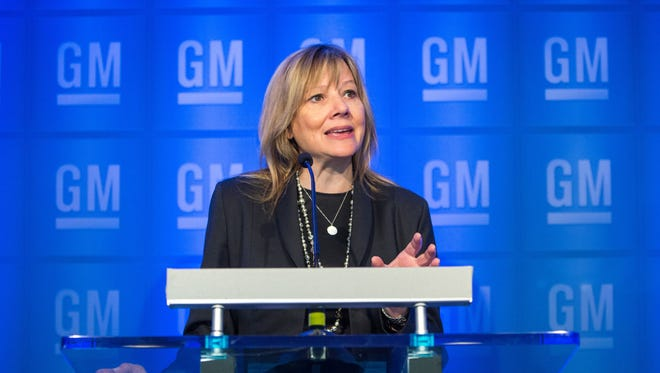 General Motors Chairman and CEO Mary Barra conducts a media briefing prior to the start of the 2016 General Motors Company Annual Meeting of Stockholders Tuesday, June 7, 2016 .