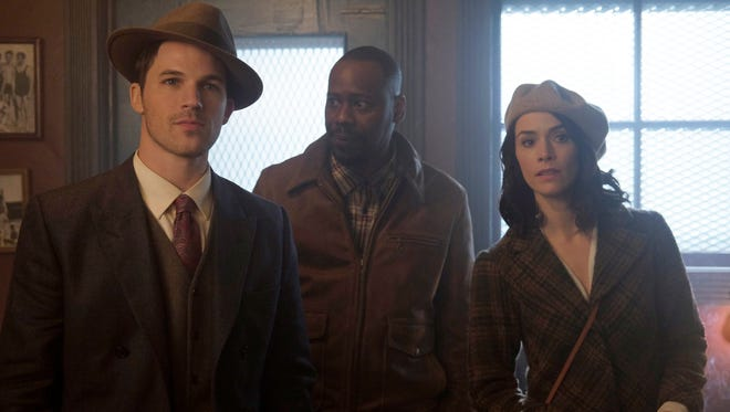 Matt Lanter as Wyatt Logan, Malcolm Barrett as Rufus Carlin, and Abigail Spencer as Lucy Preston are 'Timeless' travelers.