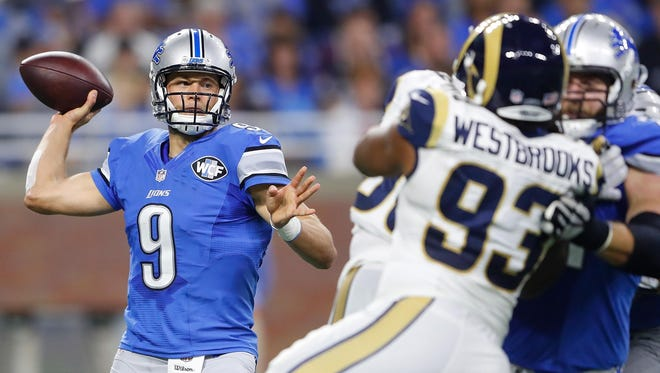 Lions quarterback Matthew Stafford had a 139.8 efficiency rating in the 31-28 win over the Rams on Sunday, Oct. 16, a franchise record for a QB with more than 30 passes.