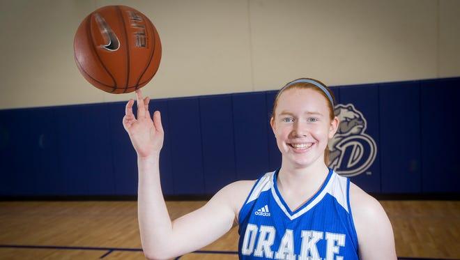 Becca Hittner is averaged 12.4 points per game for the Drake women's basketball team.