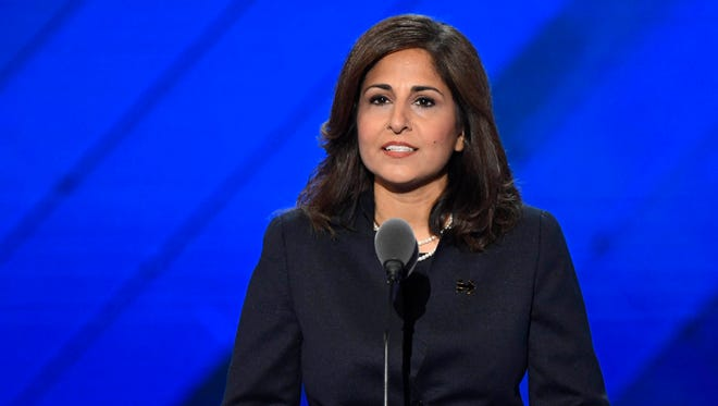 Neera Tanden speaks at the 2016 Democratic National Convention in Philadelphia July 27, 2016.