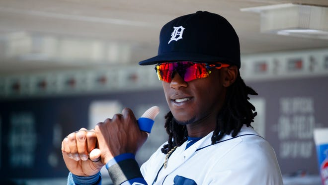 Aug 7, 2016; Detroit, MI, USA; Tigers centerfielder Cameron Maybin in the dugout against the New York Mets at Comerica Park.