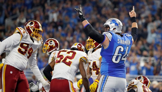 Travis Swanson of the Detroit Lions celebrates a touchdown against the Washington Redskins on Oct. 23, 2016, in Detroit.