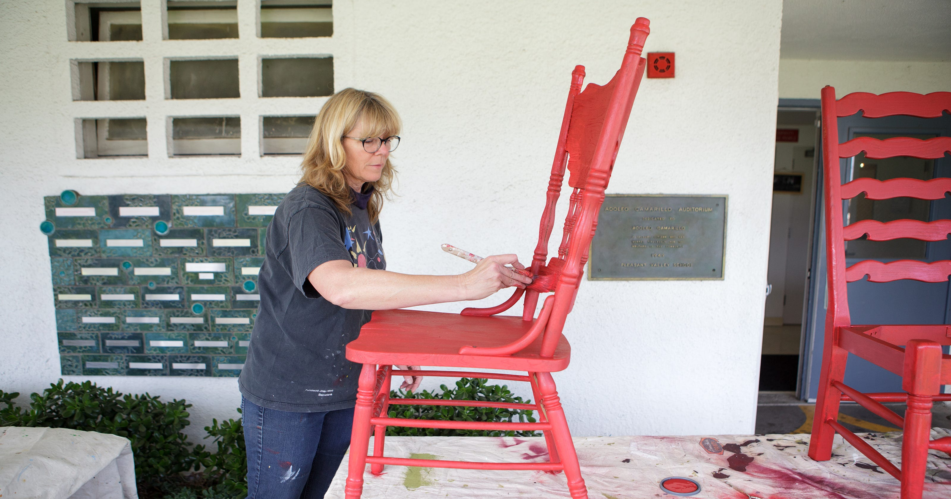 Artists Start Conversation With Red Chairs In Camarillo