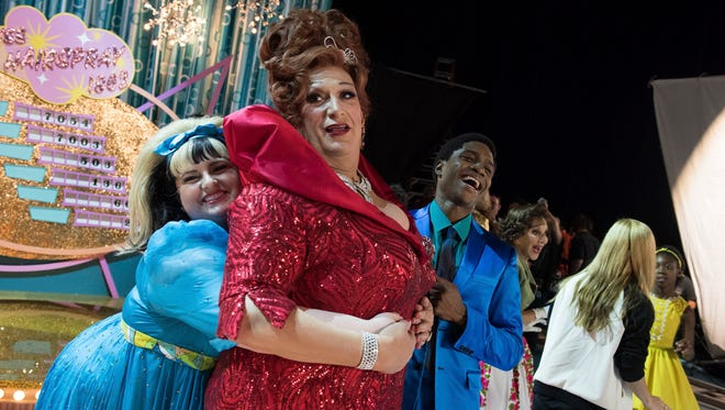 """(l-r) Maddie Baillio as Tracy Turnblad, Harvey Fierstein as Edna Turnblad, Ephraim Sykes as Seaweed J. Stubbs in a promotion for the television special """"Hairspray Live!"""""""