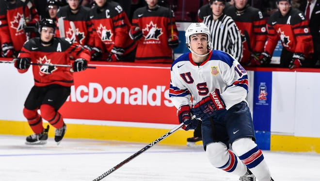 Clayton Keller #19 of Team United States skates during the 2017 IIHF World Junior Championship gold medal game against Team Canada at the Bell Centre on January 5, 2017 in Montreal, Quebec, Canada.  Team United States defeated Team Canada 5-4 in a shootout and win the gold medal round.