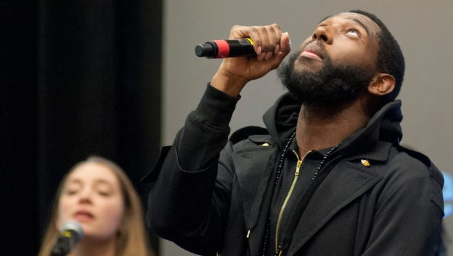 Rapper Jecorey Arthur performs at the 2017 Fund for the Arts Showcase & Campaign Kickoff. January 2017