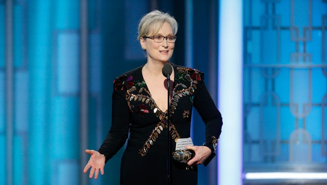 Meryl Streep accepts the Cecil B. DeMille Award at the 74th Annual Golden Globe Awards at the Beverly Hilton Hotel in Beverly Hills on Sunday.